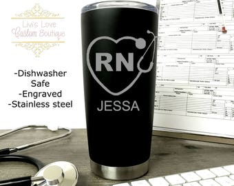 Nurse Mug Engraved Medical Black 20 oz Vacuum Insulated Stainless Steel Travel Coffee to go cup coffee cup mug Cna / Cma/ Emt/ stethoscope