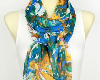 Blue and Brown Scarf Brown Floral Scarf for Women Scarves and Shawls Beauty Gift Christmas Gift for Women Stocking Stuffer Sister Gift