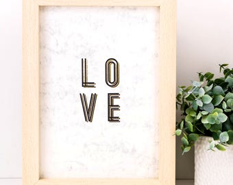 Love Print; Gold Foil Print; Typography; Wall Art; Gifts Under 10; Love Gift; I Love You; Wedding Gift; Regalos De Aniversario; SMP023