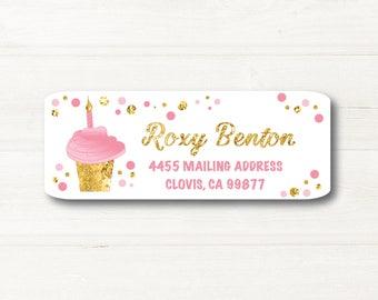 Cupcake, Pink & Gold, Confetti, Bubbles, White Background,  Return Address Label, Custom, MATTE, Celebration, Elegant