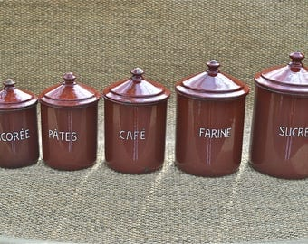Set of 5 antique French enamel kitchen jars pantry canisters