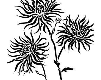 Chrysanthemums Stencil