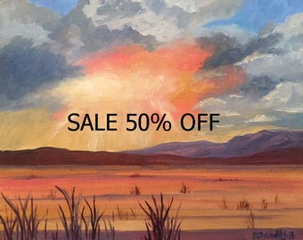 California rice fields oil painting with clouds at sunset
