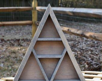 Vintage Wash Wide Spacing Shelved Large Triangle Crystal Display Shelf