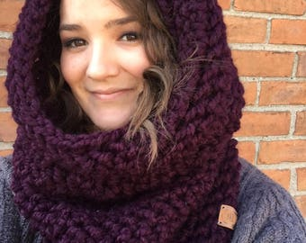 Northern Woods Oversized Crochet Cowl // Hooded Cowl // Chunky Infinity Scarf