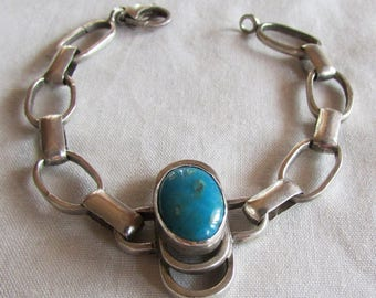 Handmade Sterling Silver and Turquoise Link Bracelet