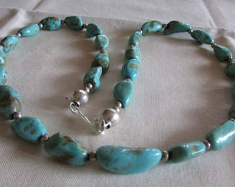 Turquoise and Sterling Silver Bead Necklace