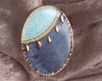 blue sky and sea oval handmade cabochon, for various creations