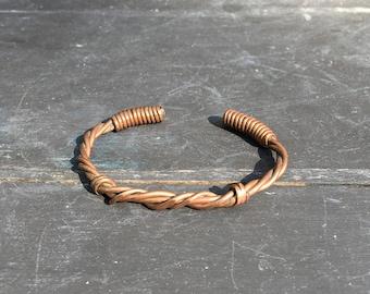 Vintage copper wire cuff bracelet handmade