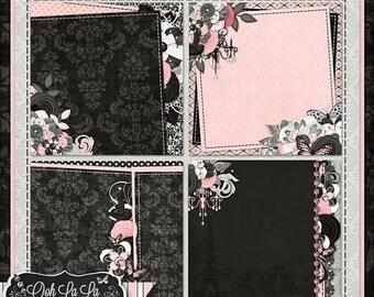 On Sale 50% Ooh La La Stacked Background Digital Scrapbook Kit - Digital Scrapbooking