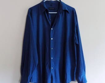 90s Teal Blue Button Down Shirt by Fosters Menswear, Size Medium
