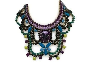 PEONIE hand painted rhinestone super statement necklace