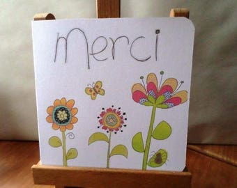 Thank you flowers - hand made card - 15cm x 15cm