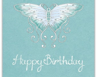 Hand-cut Papillon Butterfly birthday greeting card 15cm x 15cm