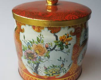 Vintage Daher tin biscuit barrel red-orange and gold with white Asian floral made in England