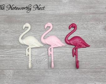 any color pink flamingo hook bathroom decor nautical decor beach decor flamingo - Pink Flamingo Bath Decor