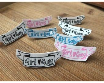 Illustrated girl gang shrink pins