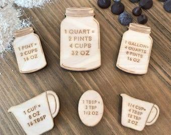 Measurement Magnets. Measurement Conversion. Kitchen Magnets. Fridge Magnets. Measure Magnets.  Mason Jar Magnets.  Measuring Cups.
