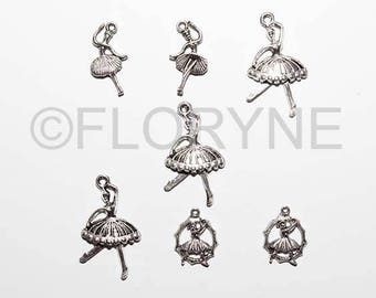7 Charms dancers in silvery Metal Pendants charms