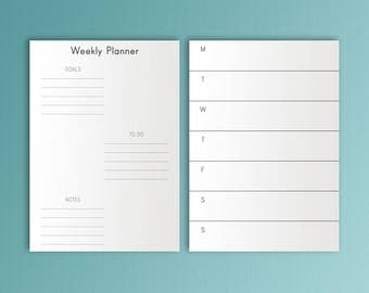 B6 Inserts Weekly Planner Inserts Weekly Goals To Do B6 Travelers Notebook Refills Printable Weekly Inserts B6 TN Insert 5x7 Planner Pages