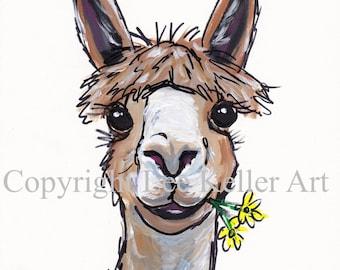 Alpaca art, alpaca decor. Alpaca print from original Alpaca on canvas painting. Fun alpaca art, Cute alpaca print