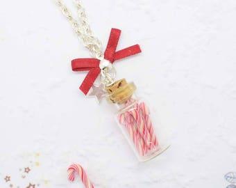 vial necklace sugar barley polymer clay