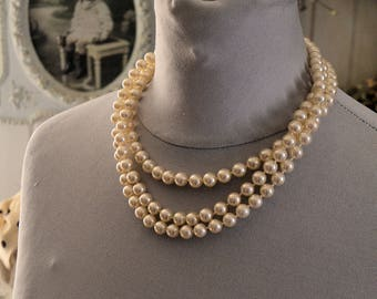 Vintage french crystal necklace, 3 rows, pearly beads, 1950s