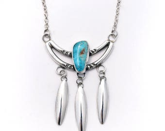 Kingman Turquoise, Sterling Silver Windchime Necklace