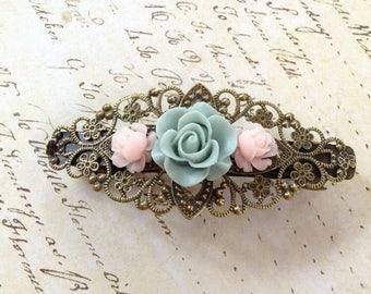 Victorian Brass And Roses Decorative Barrette