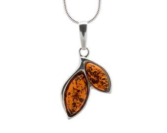 Amber Leaf Pendant - Leaf Necklace - Amber Necklace - Amber Pendant - Silver Leaf Necklace - Amber Leaf Necklace - Leaves Necklace -442P1