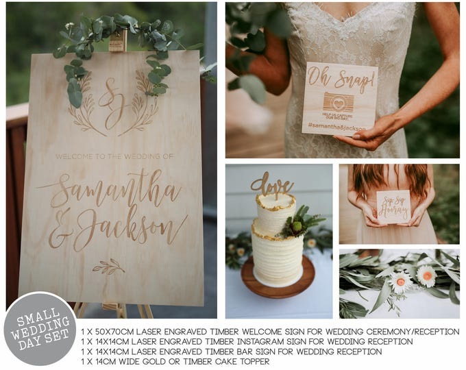 Featured listing image: Wedding Signs Set - Small Wedding Day styling set.