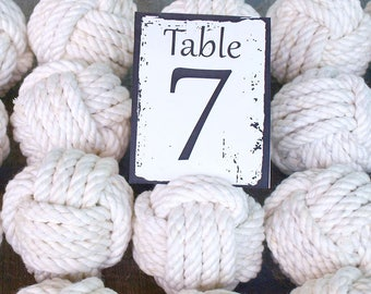 Coastal Wedding  cotton Rope 13 Table Number Holders for your Nautical Wedding Monkey Fist Rope Knots (w1)
