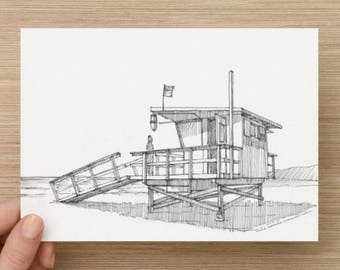 Ink Drawing of Life Guard Stand at Venice Beach, California - Sketch, Pacific Ocean, Art, 5x7, 8x10, Print, Architecture, Coast, Pen and Ink