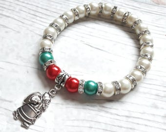 christmas bracelet, xmas jewellery, father christmas jewelry, stocking fillers, Santa claus bracelet, gifts for children , christmas eve box
