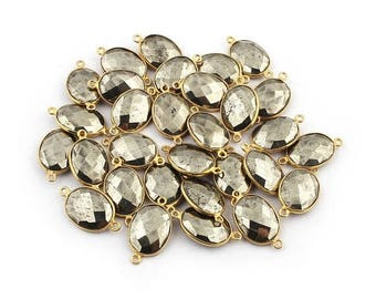 Xmas  in July Bulk Lot 30 Pcs Natural Pyrite 24k Gold Plated Double bail Connector - Pyrite Faceted Connector 23mmx13mm BC-654