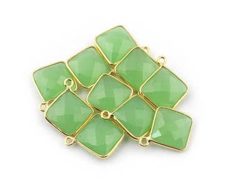 CIJ SALE 10 PCS Green Chalcedony 925 Sterling Vermeil Faceted Cushion Single Bail Pendant - Green Chalcedony Pendant 19mmx15mm Ss1540