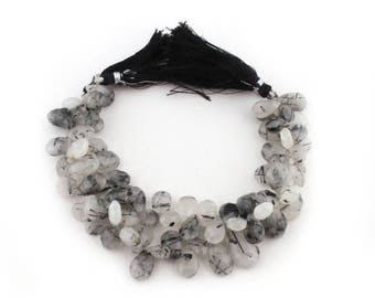 Valentines Day 2 Strands Black Rutile Faceted  Briolettes - Tourmilated Quartz Pear Drop Beads 10mmx8mm-15mmx10mm 8 Inches SB1786