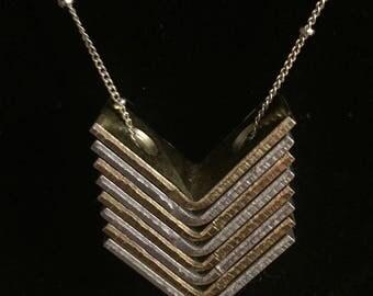 Chevron Hardware Necklace, Industrial Jewlery, Geometric Design