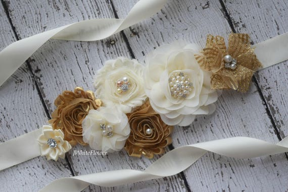 Sash, gold ivory  Sash, flower Belt, maternity sash, wedding sash, baby shower sash