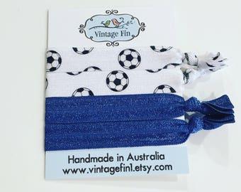 Set of soccer / football elastic hair ties