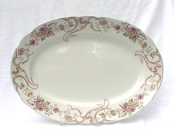 Rare W. H. Grindley & Co Ironstone Platter Brown Transferware Red Pink Flowers