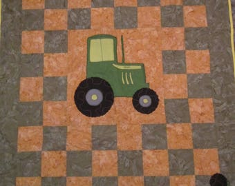 BABY QUILT, JOHN Deere Colors, Boy or Girl Nursery, Tractor Bright, Colorful