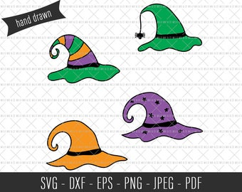 Witch Hat SVG, Hand Drawn Cut File, Witch Hat Cut File, Halloween SVG, Halloween Cut File, Halloween Clip Art, Commercial SVG, Witches Hats