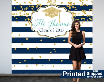 Graduation Personalized Photo Backdrop, Navy Blue and White Stripes Photo Backdrop, Sweet 16 Photo Backdrop, Photo Booth Backdrop