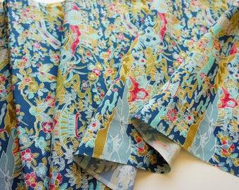JPI - Vintage Japanese Kimono Silk Fabric **Aqua Mountain**
