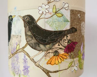PDF pattern for blackbirds rainbow flowers lampshade raw edge applique free motion embroidery.