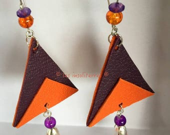 pretty earrings geometric triangular graphic leather two colors and tassels