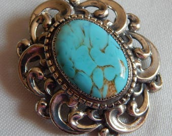 Vintage DANECRAFT Sterling Silver TURQUOISE stone Scrolling repousse Brooch Pendant