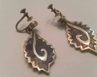 Vintage Mexican Inlay Earrings MR Taxco ASS Mexico 925 Sterling Silver Dangle