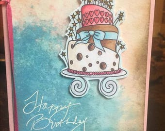 Quirky Wonky Birthday Cake Happy Birthday Card